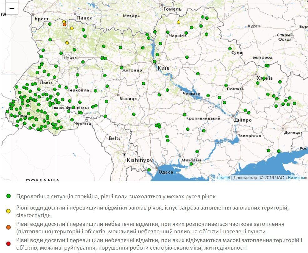 Повышение уровня воды в реках Украины.