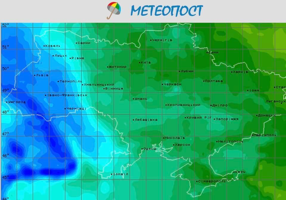 В Украине 15 апреля прогнозируют дожди