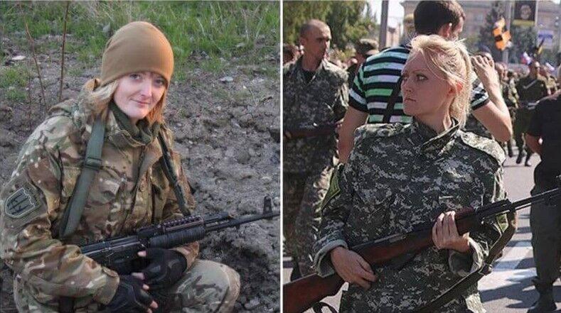 Котеленец (на фото слева) приняли за женщину, которая конвоировала пленных в Донецке в 2014 году.