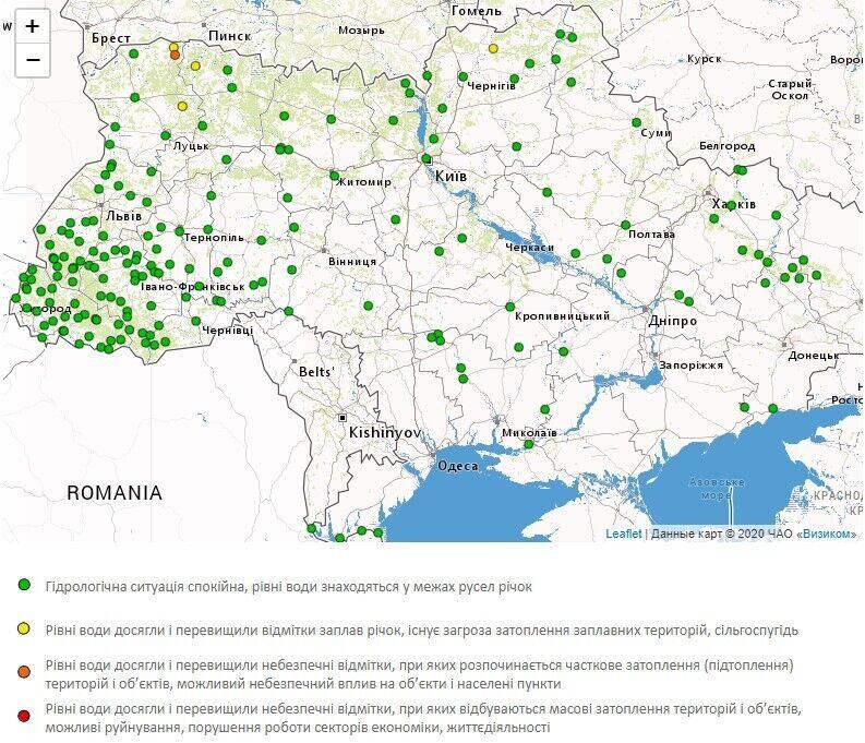 Предупреждение о повышении уровня воды в реках Украины 15 апреля.