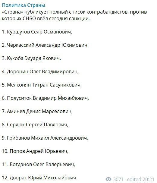 Озвучен полный список новых имен из санкций СНБО