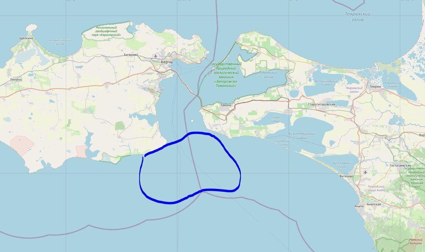 Керченська протока на мапі