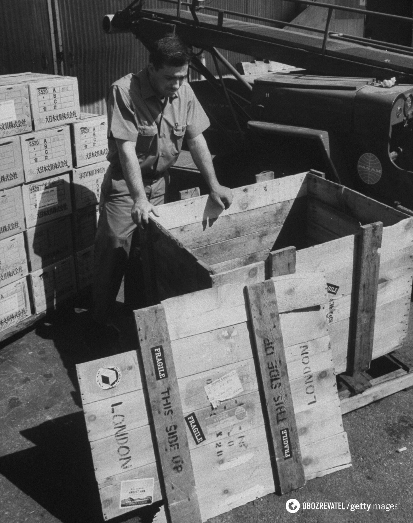 Представник авіакомпанії Pan American World Airways Гері Гетч дивиться на ящик, із якого він звільнив безквиткового пасажира Браяна Робсона