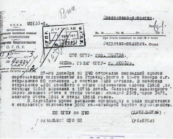 Документ о переселении россиян в вымершие от голода села Украины