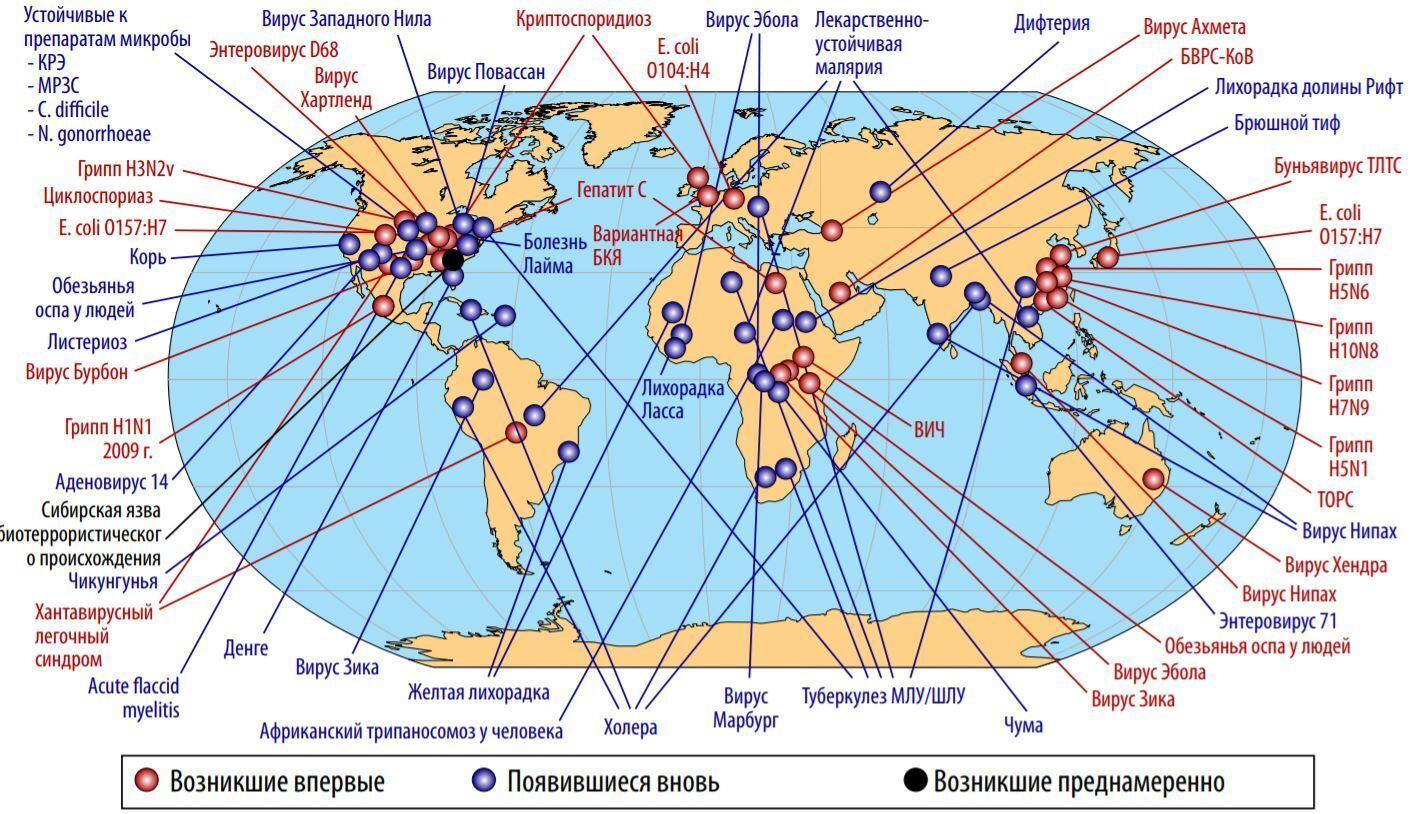 Карта появи деяких патогенів у світу за останні 50 років, враховуючи ті, які виникли (чи знову виникли) природним шляхом або були випущені в навколишнє середовище навмисно