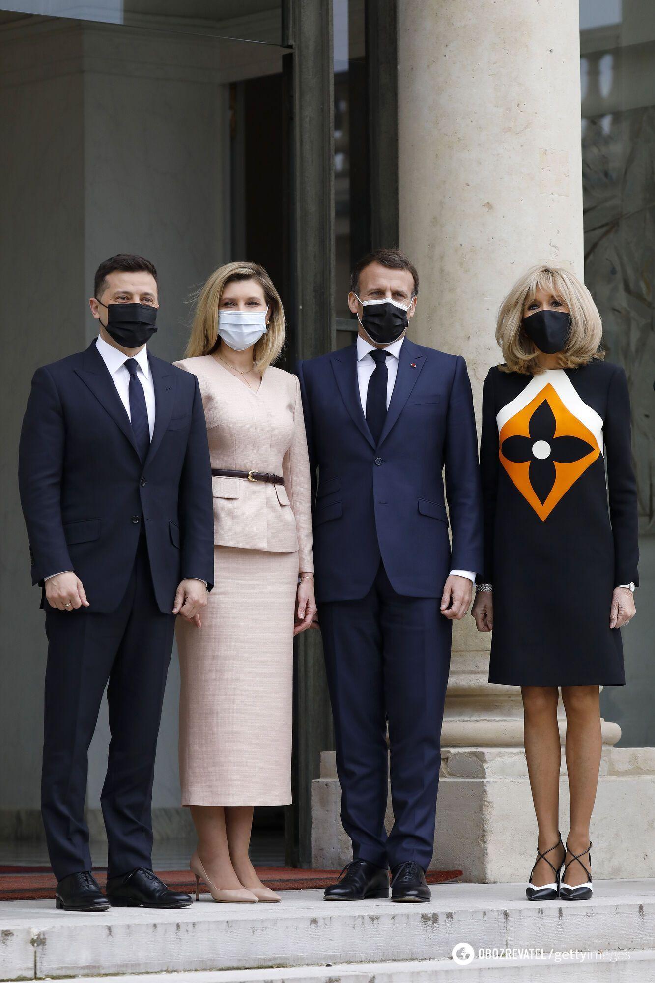 Владимир Зеленский с женой Еленой и Эманнуель Макрон с женой Брижит