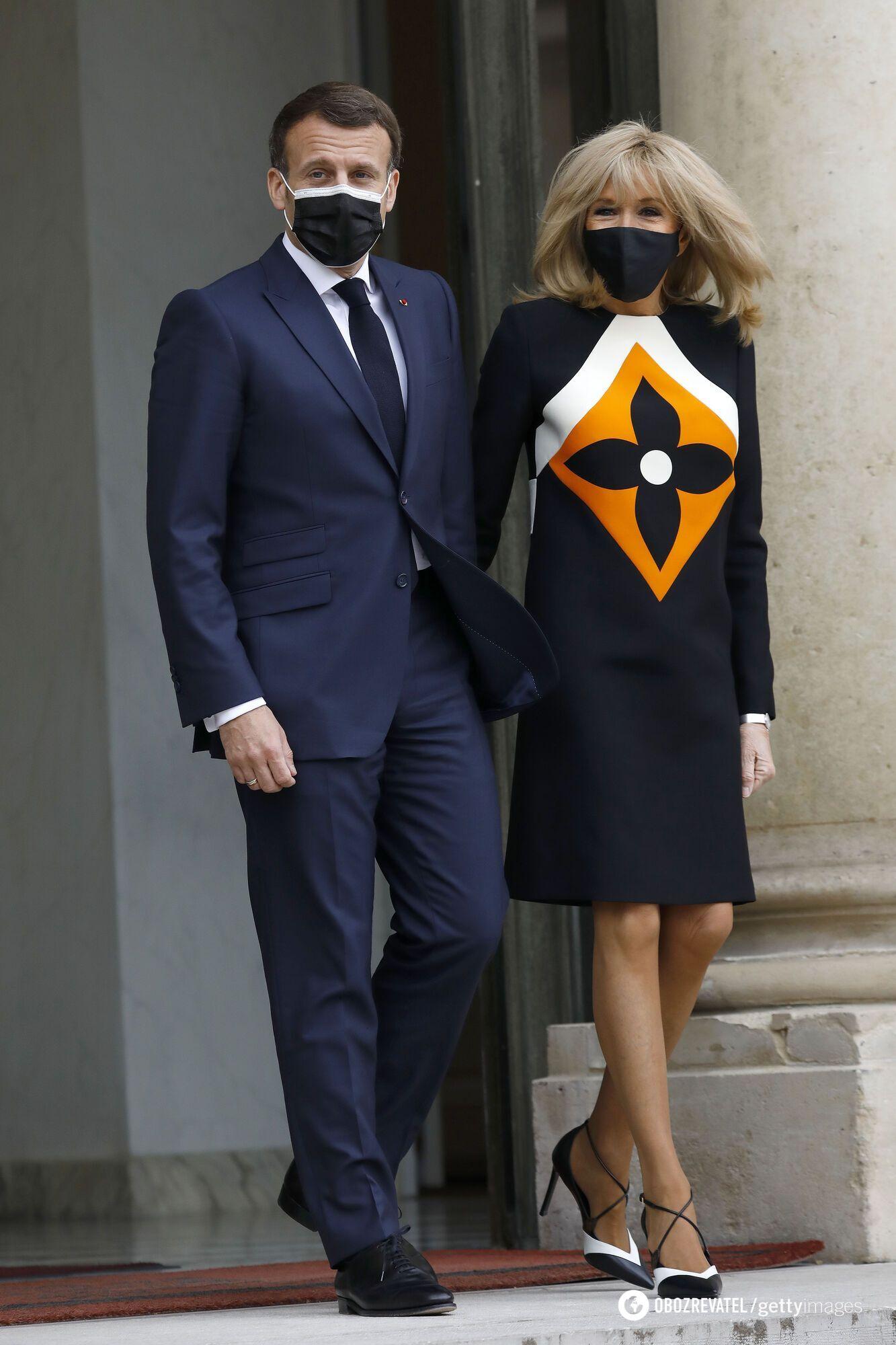 Президент Франции Эммануель Макрон с женой Брижит