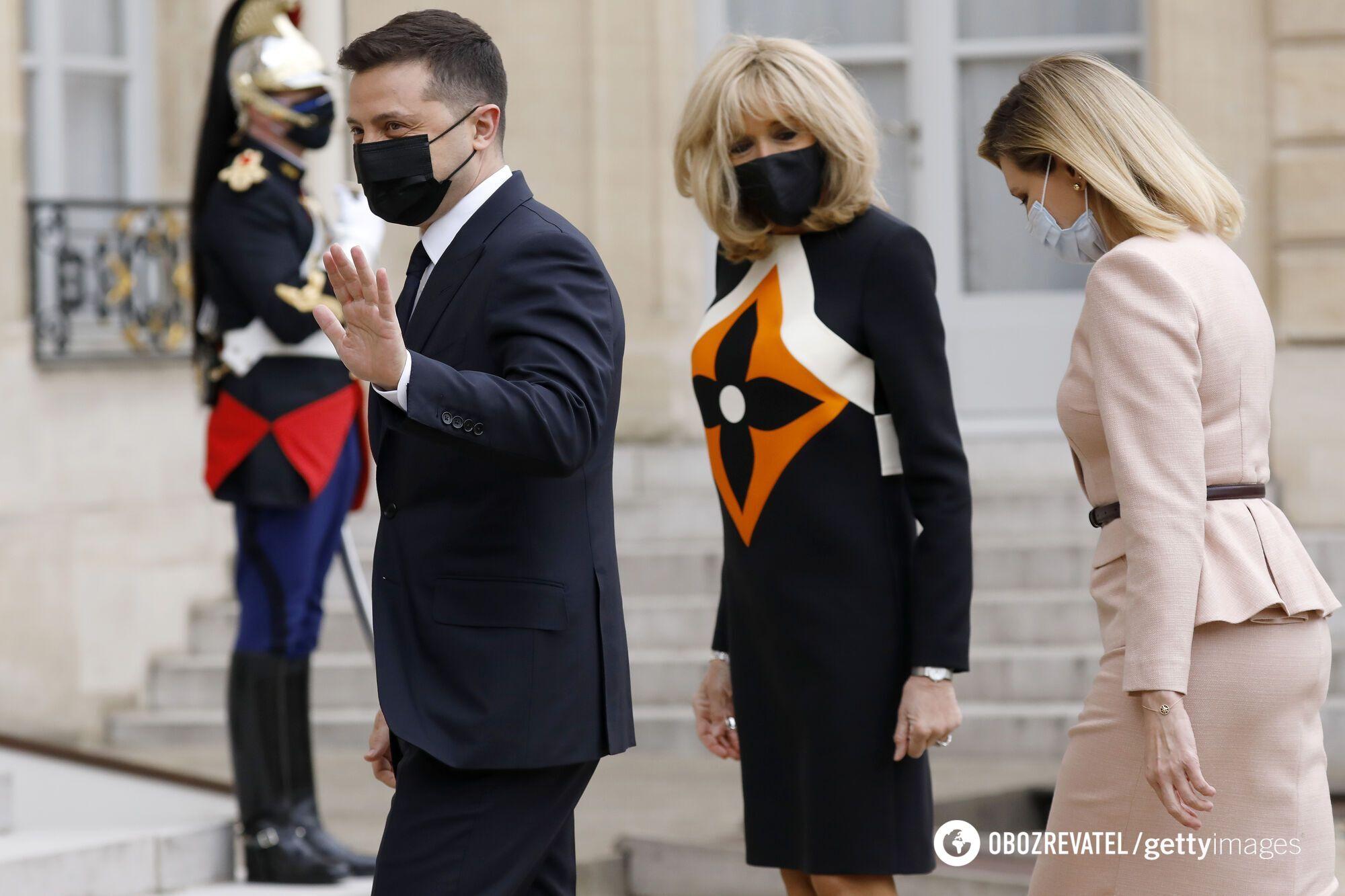 Владимир Зеленский, Брижит Макрон и Елена Зеленская
