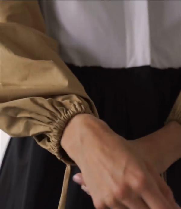 Платье А-силуэта с рукавами-буфами