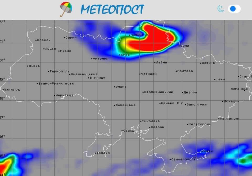 Карта погоди в Україні 18 квітня.