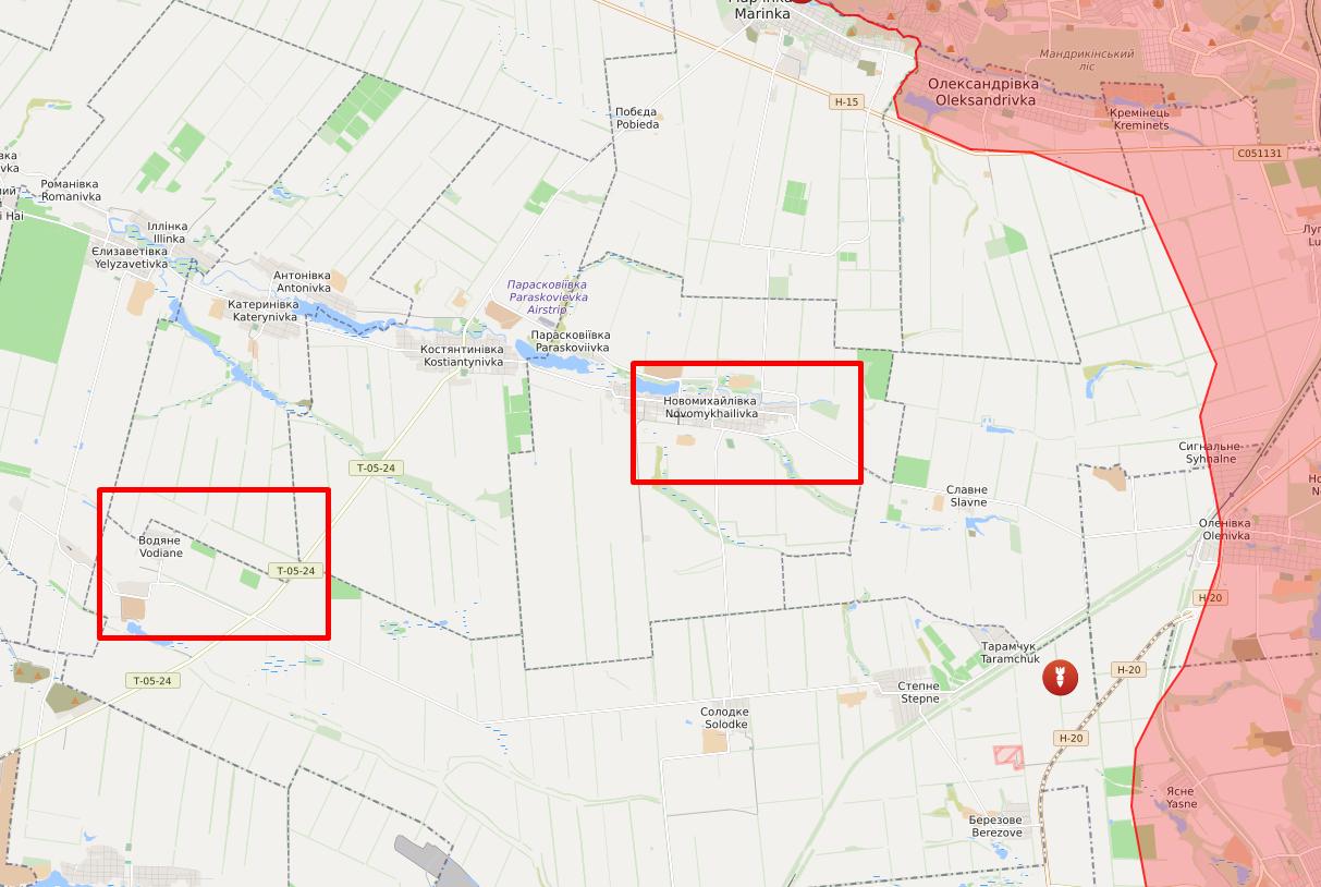 Обстрелы в районе Новомихайловки и Водяного.