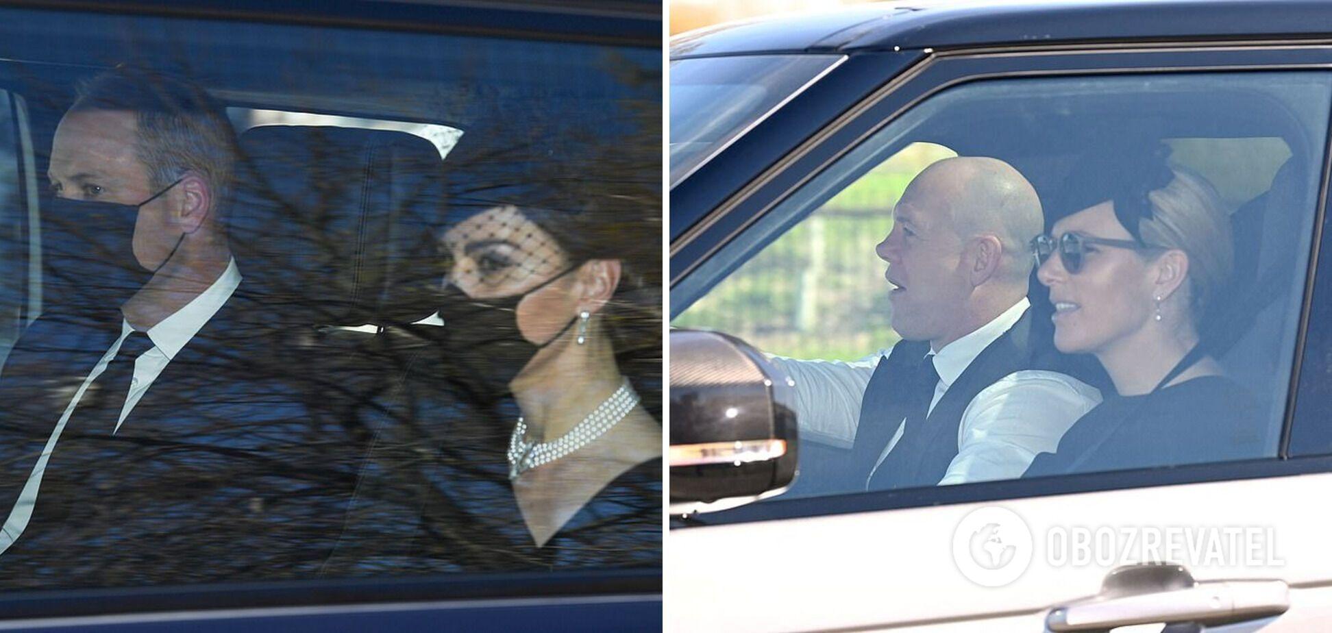 Принц Вільям, Кейт Міддлтон, Зара Тіндолл і Майк Тіндолл прибули на похорон принца Філіпа