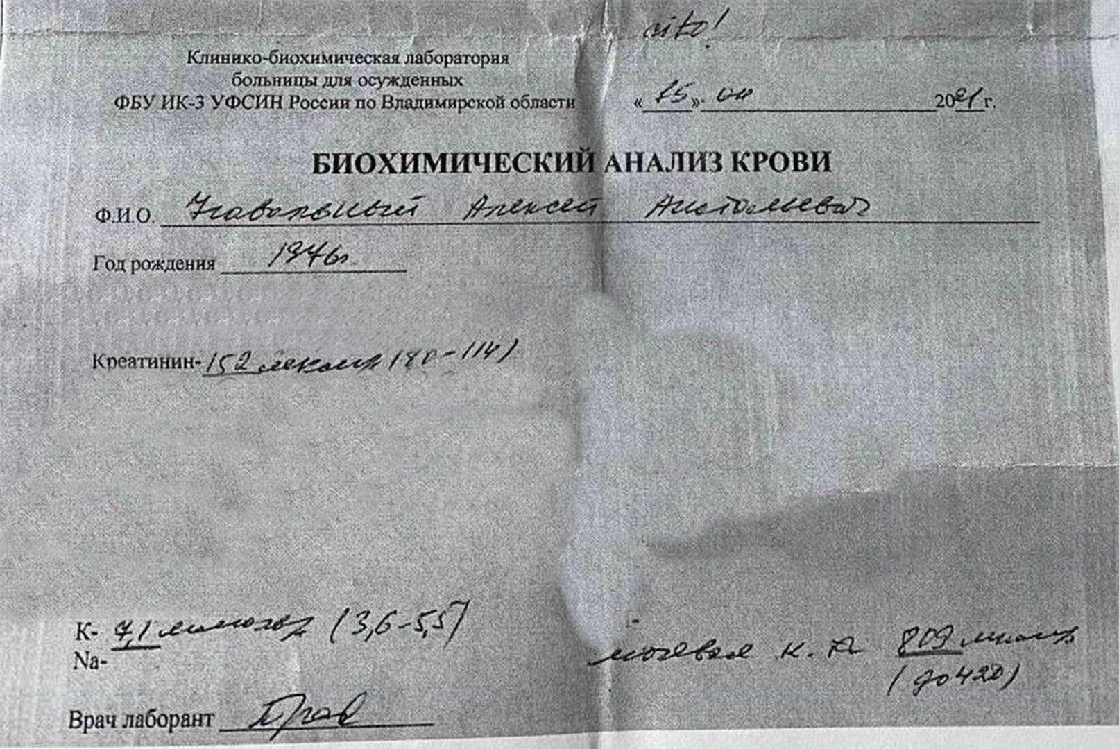 Ксерокопія результатів аналізу крові Олексія Навального на тлі голодування в покровській ВК-2