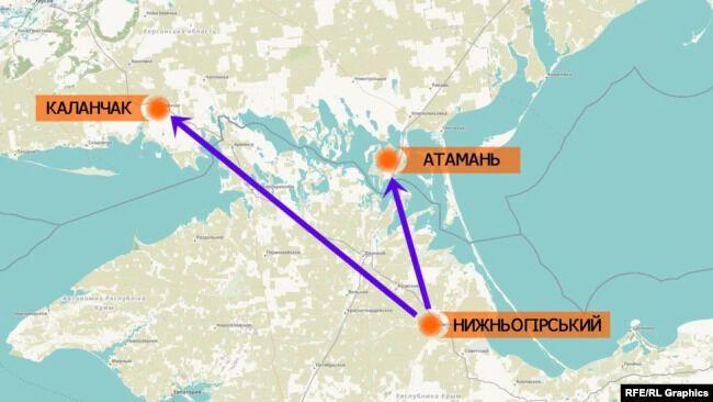 Расстояние между пгт Нижнегорский в Крыму, где заметили военную российскую технику, до админграницы с Херсонской областью