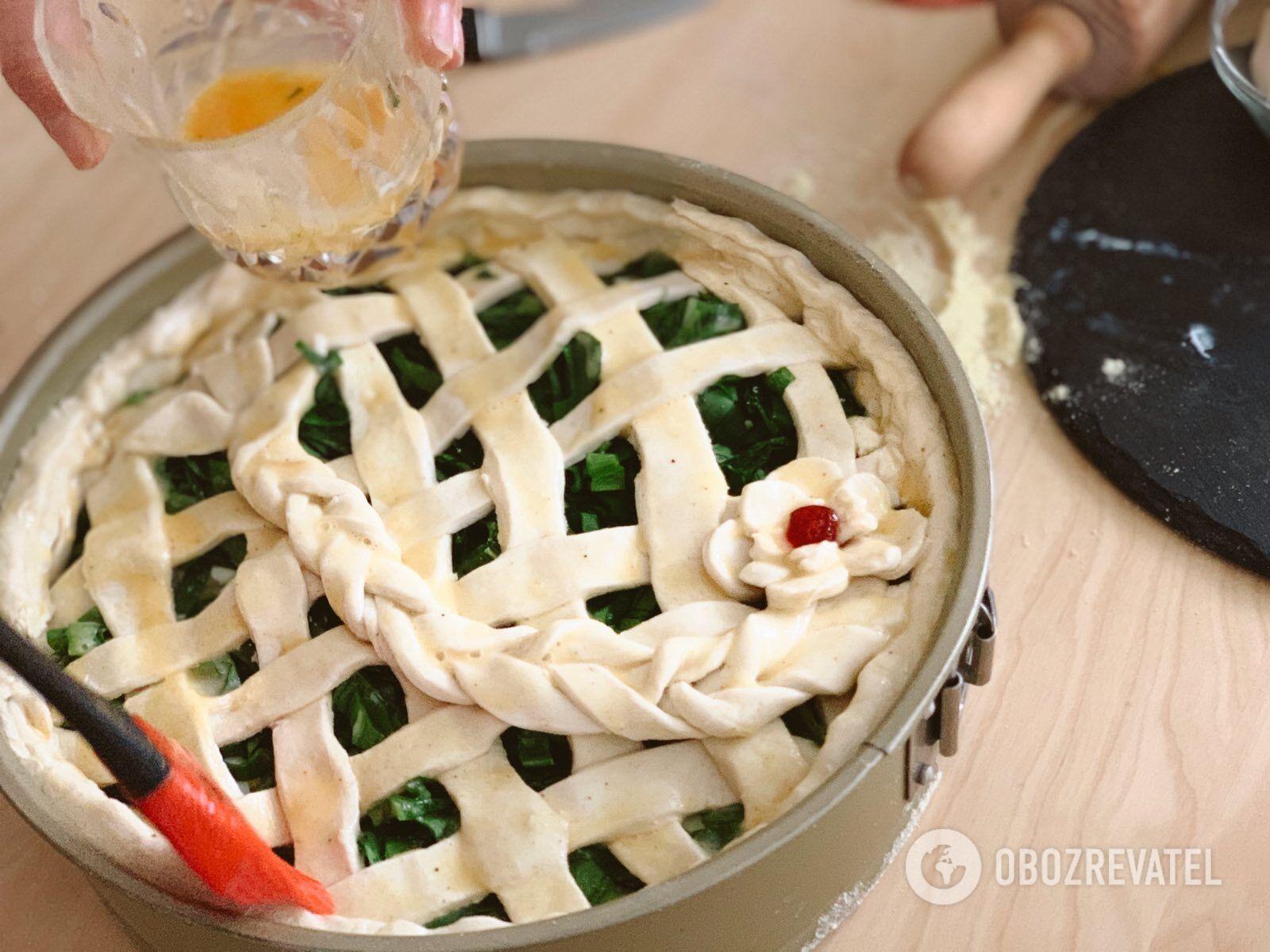 Сирний пиріг з черемшою. Рецепт