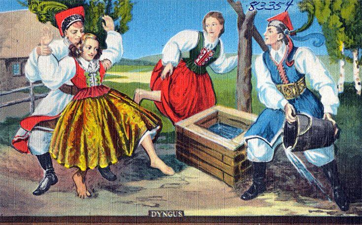 """Поливальный понедельник в Польше называется """"Дынгус"""": парни обливают девушек водой. Польская открытка"""