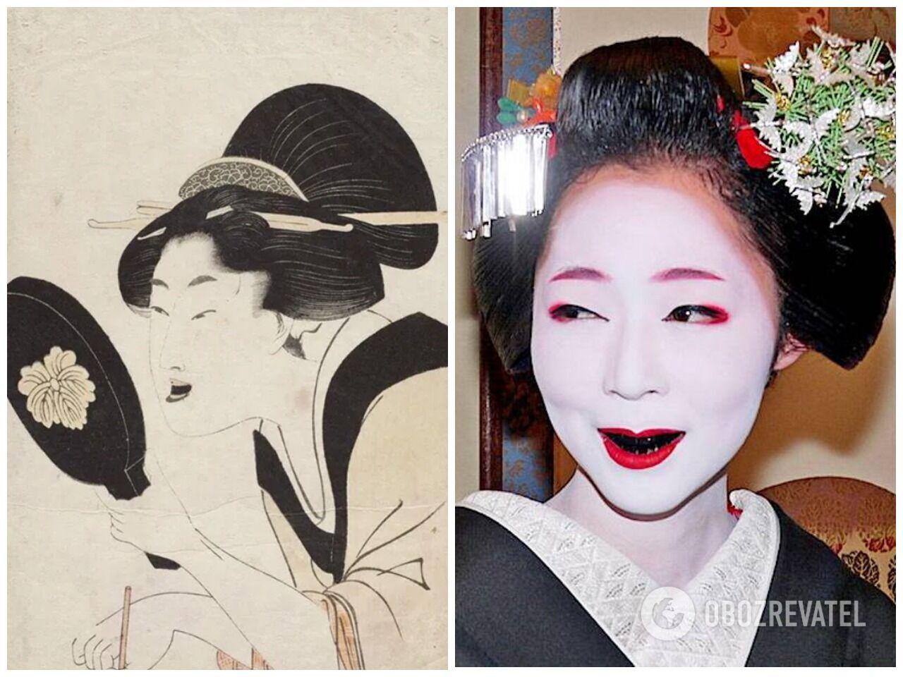 Японки после замужества красили зубы в черный цвет
