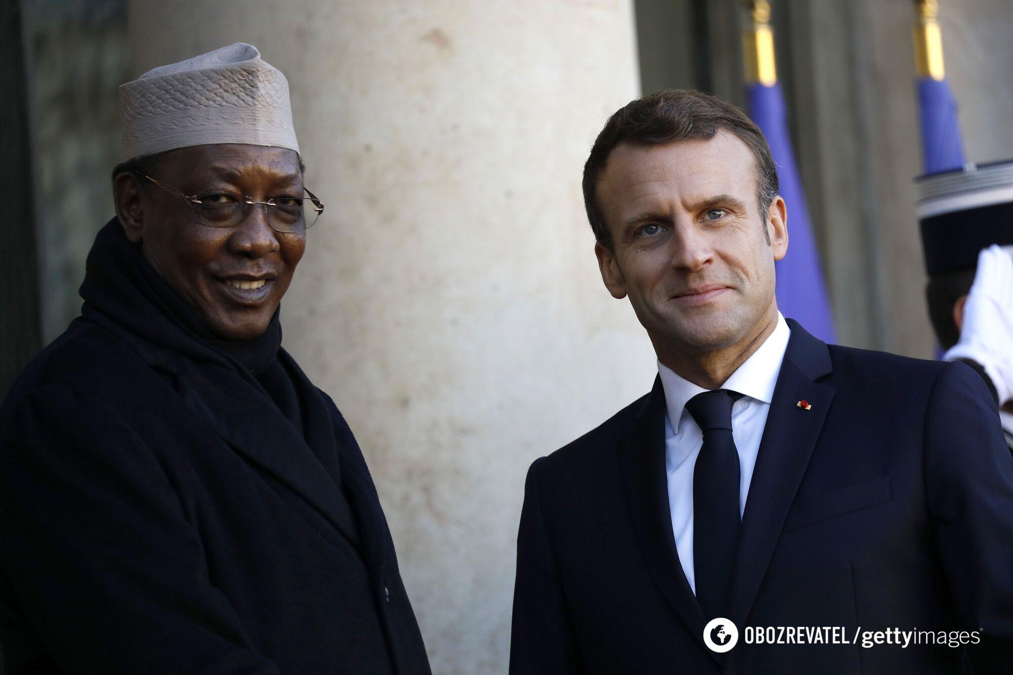 Президент Чаду Ідріс Деббі та глава Франції Еммануель Макрон
