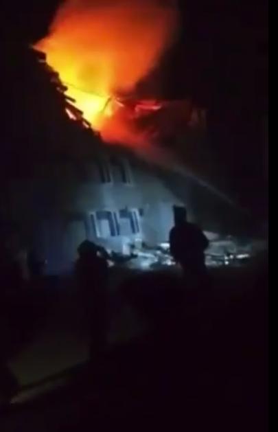 Пожежа в будинку після вибуху