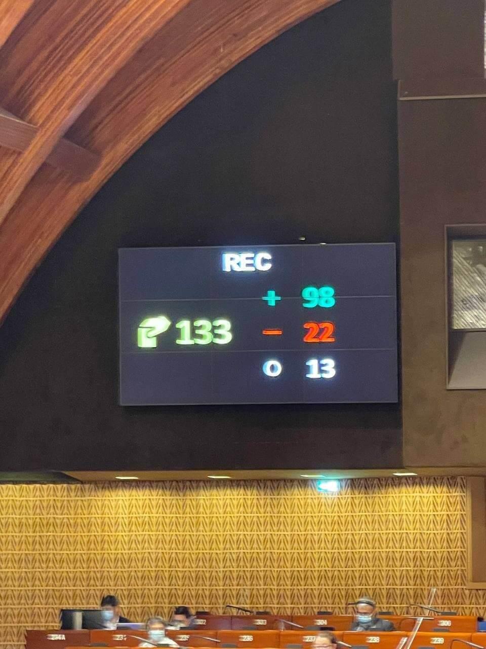 Голосування щодо доповіді в ПАРЄ