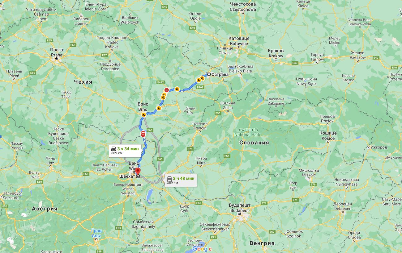 Расстояние между местом проживания оперативников и аэропортом в Вене.