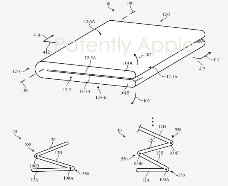 Apple показала патент складного безрамочного iPhone