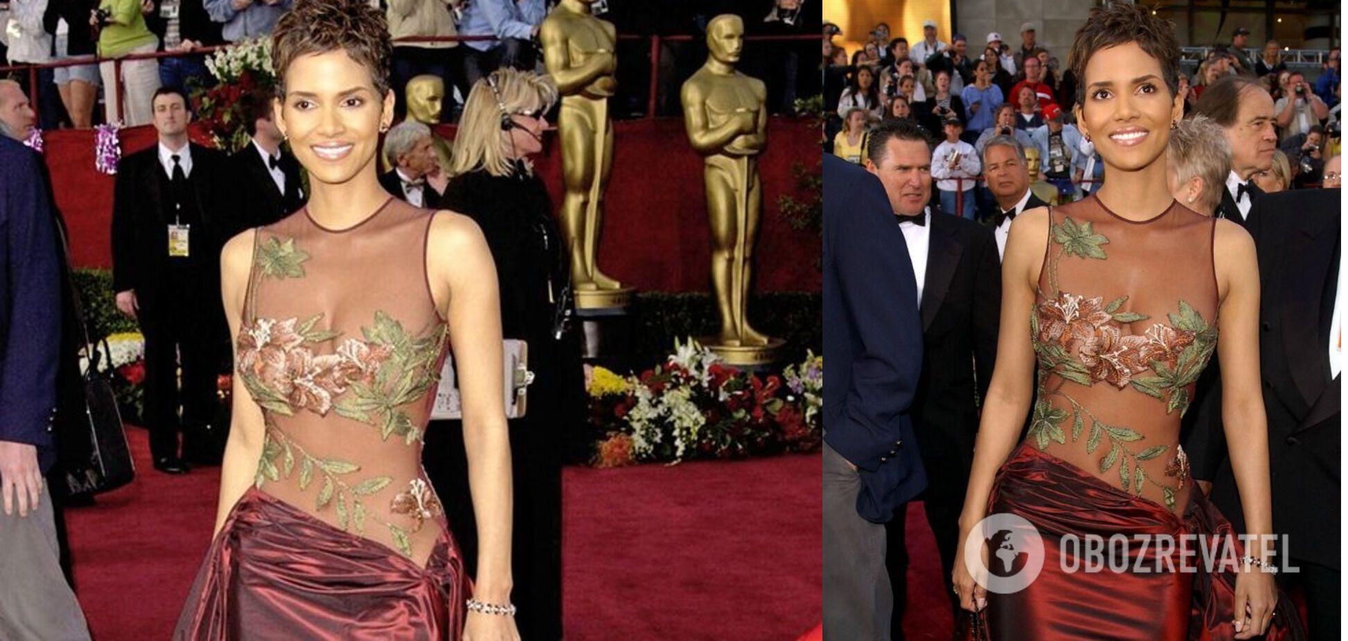 Холли Берри в прозрачном платье с цветочным принтом в 2002 году.