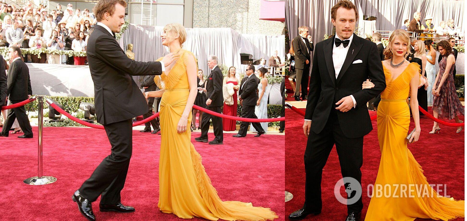 """Мишель Уильямс на церемонии """"Оскар"""" 2005 года в длинном желтом платье."""