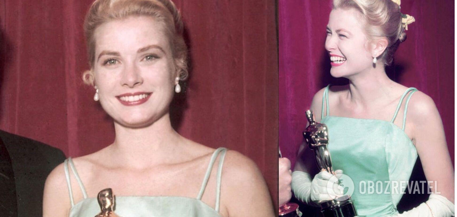 Грейс Келли в 1955 году в салатовом платье.