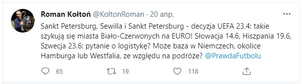 Сообщение в Twitter Романа Колтона