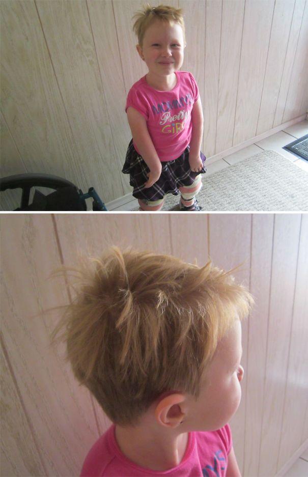 Дочь сделала рокерскую прическу.