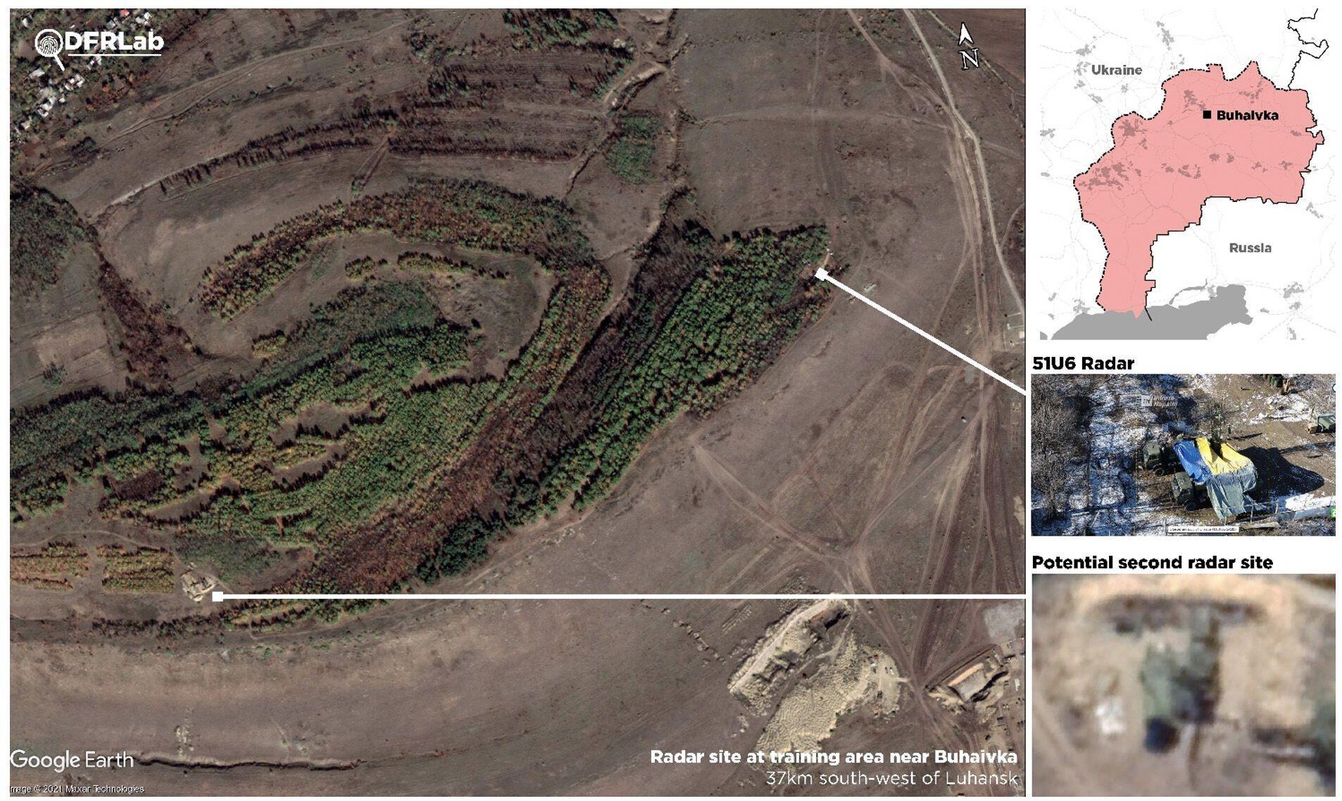Супутникові знімки, що показують позицію радара на полігоні поблизу Бугаївки