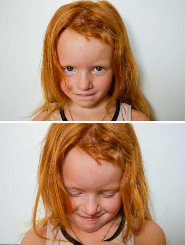 Девочка подстригла роскошную рыжую шевелюру.