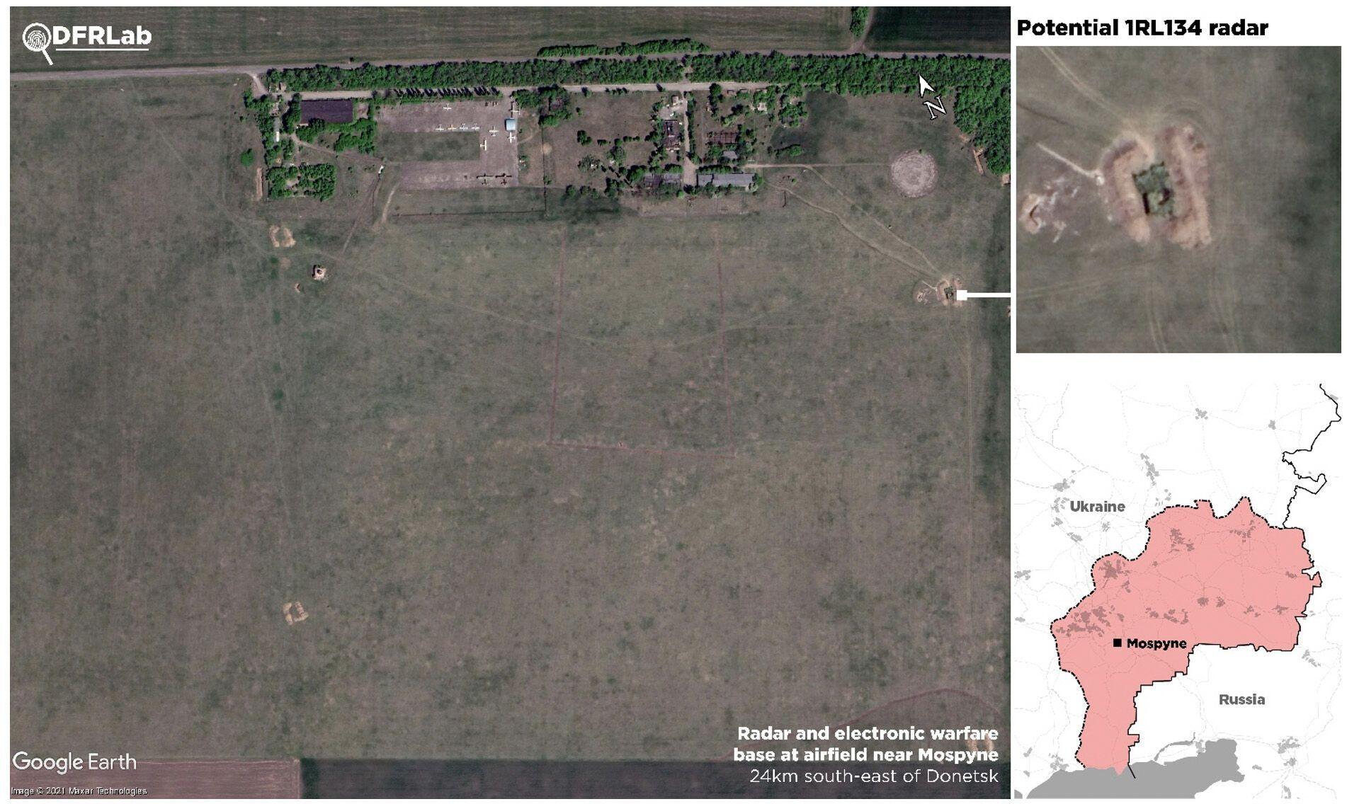 Супутникові знімки, що показують місце розташування радару та засобів РЕБ на аеродромі поблизу міста Моспине
