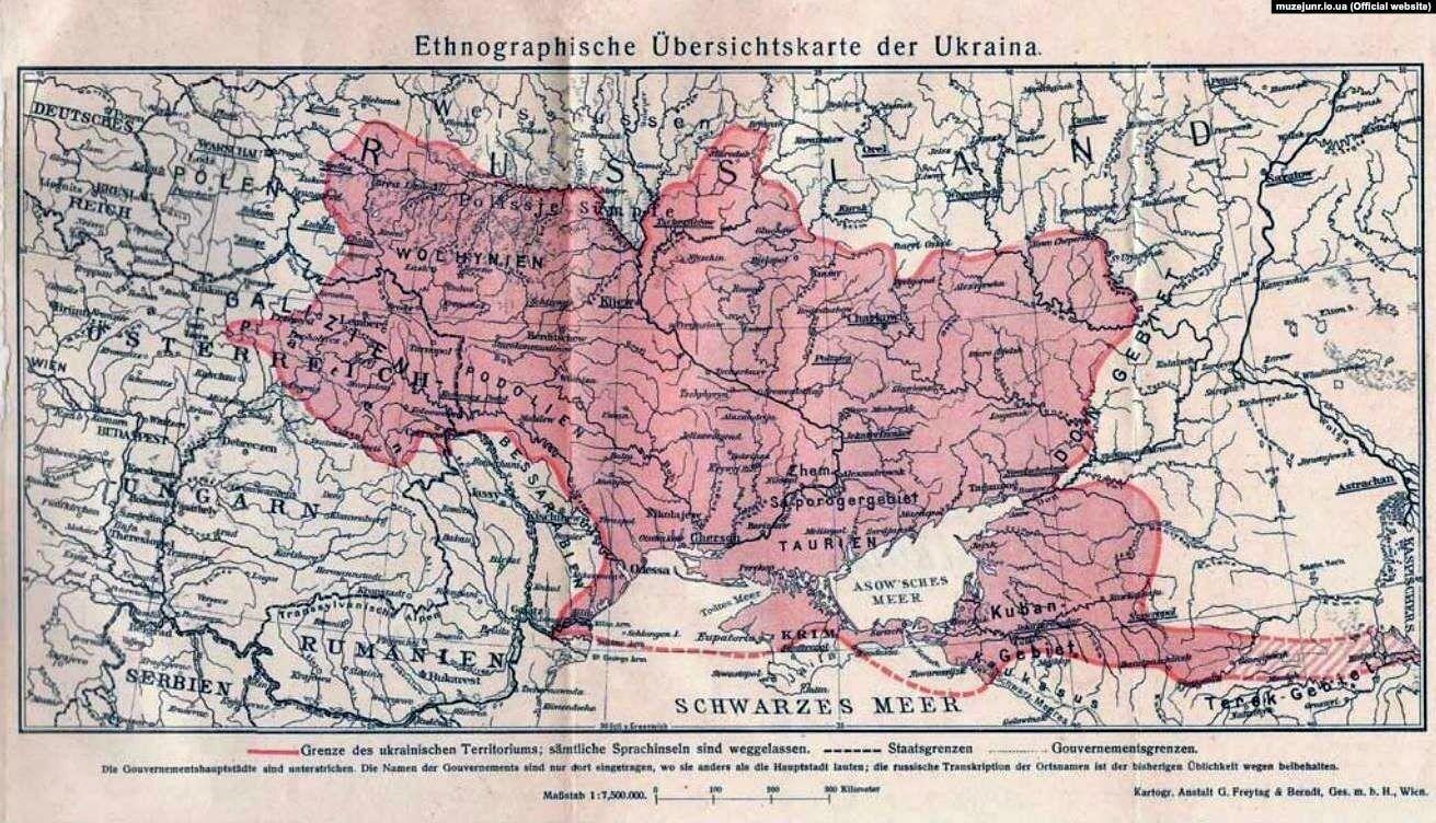Этнографическая обзорная карта Украины, выданная в Вене в 1916 году. Автор: Степан Рудницкий