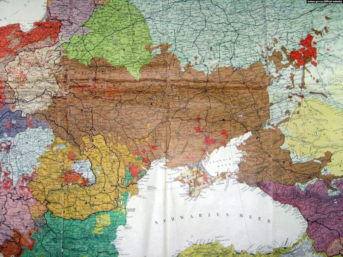 Карта стран и населения Европы немецкого профессора истории Дитриха Шефера, 1918 год