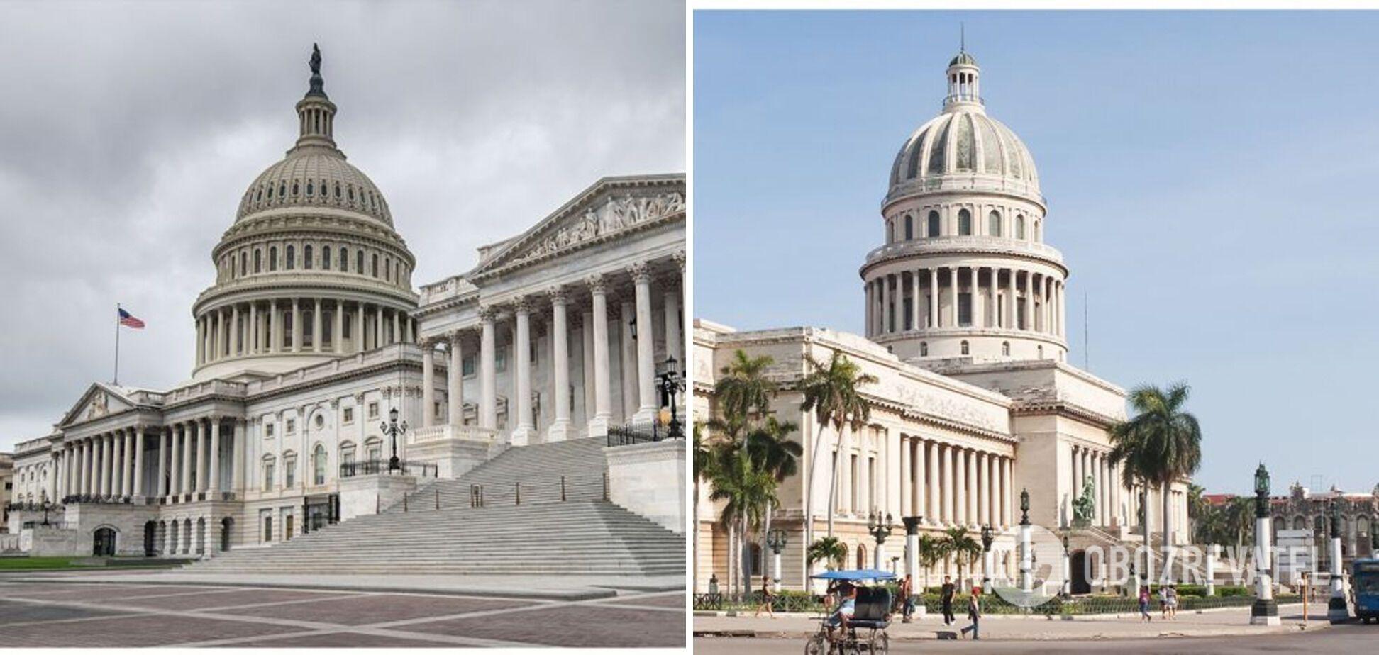 Слева – Капитолий в США, справа – Капитолий на Кубе.