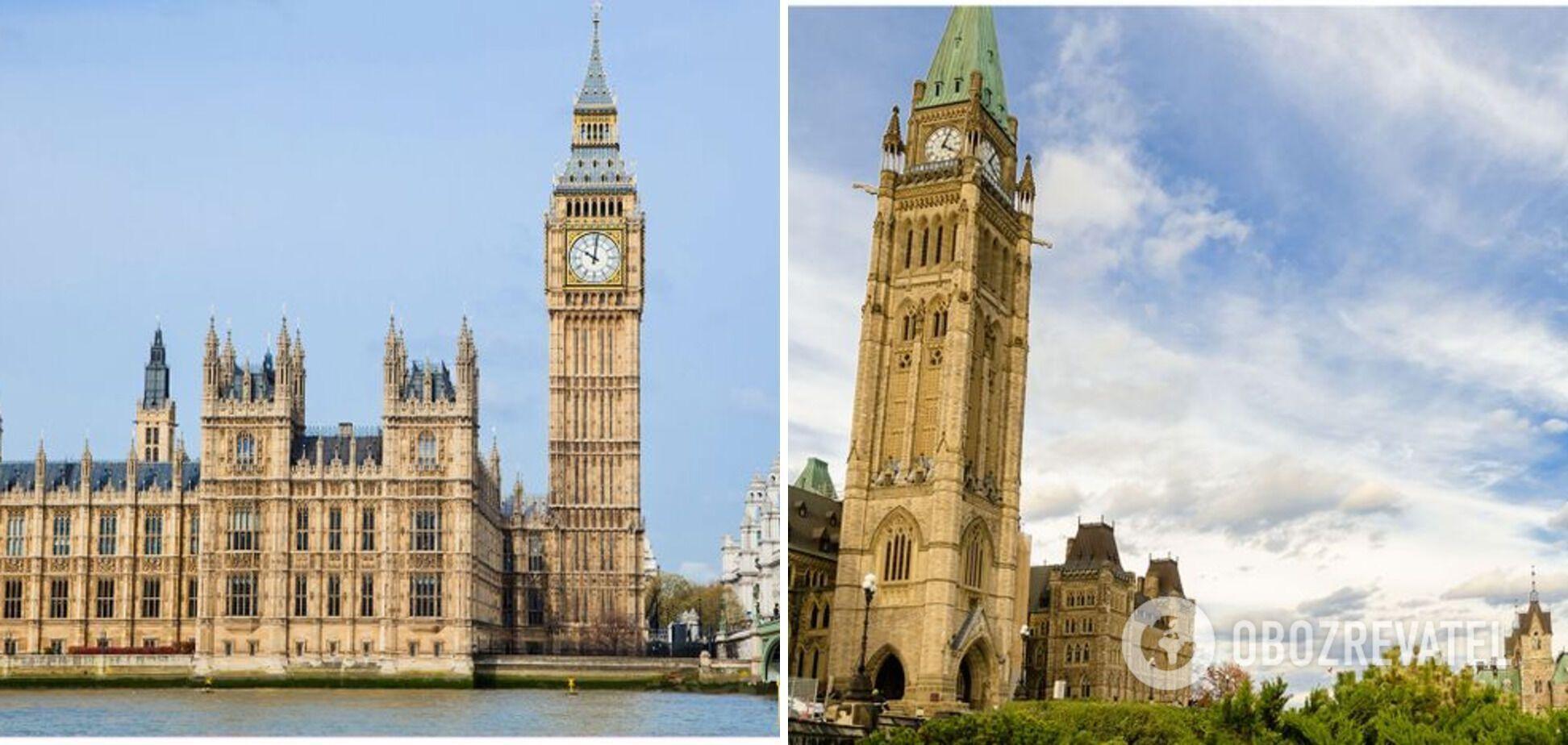 Слева – Биг Бен в Великобритании, справа – Башня Мира в Канаде.