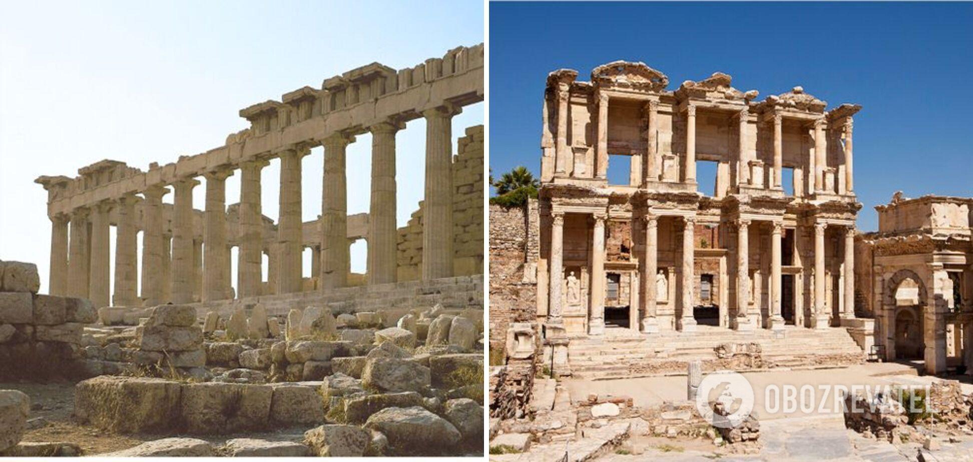 Слева – Акрополь в Афинах, справа – город Эфес, Турция.