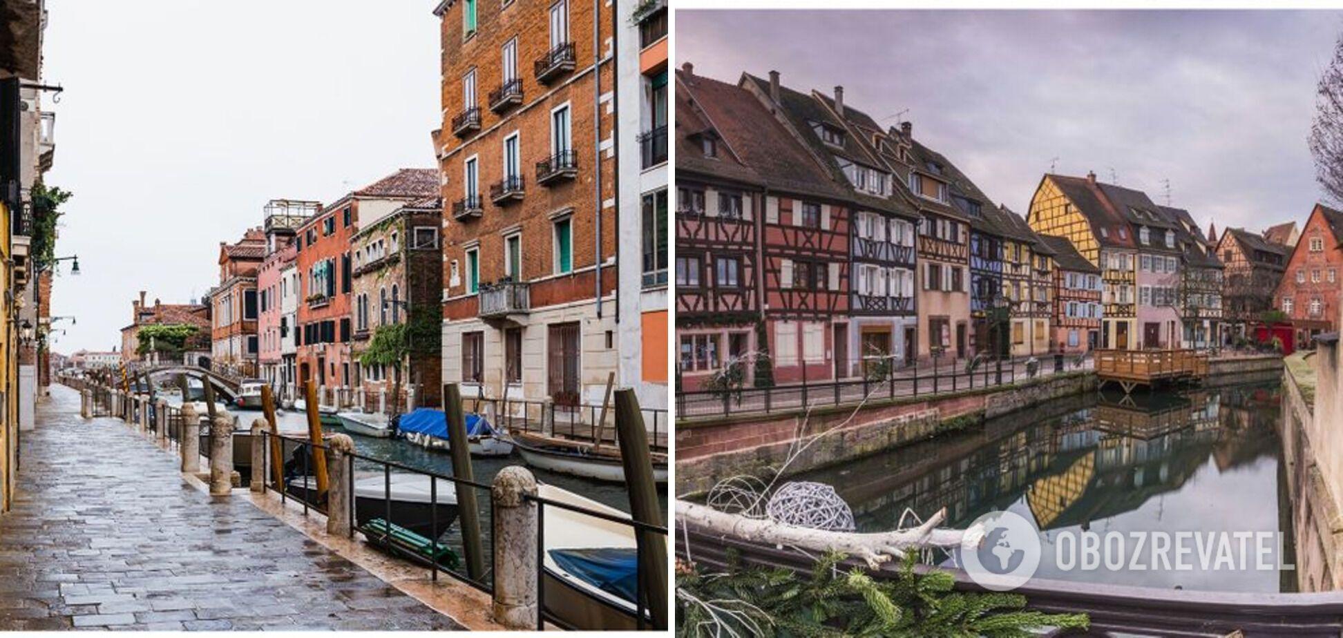 Слева – Венеция в Италии, справа – Кольмар во Франции.