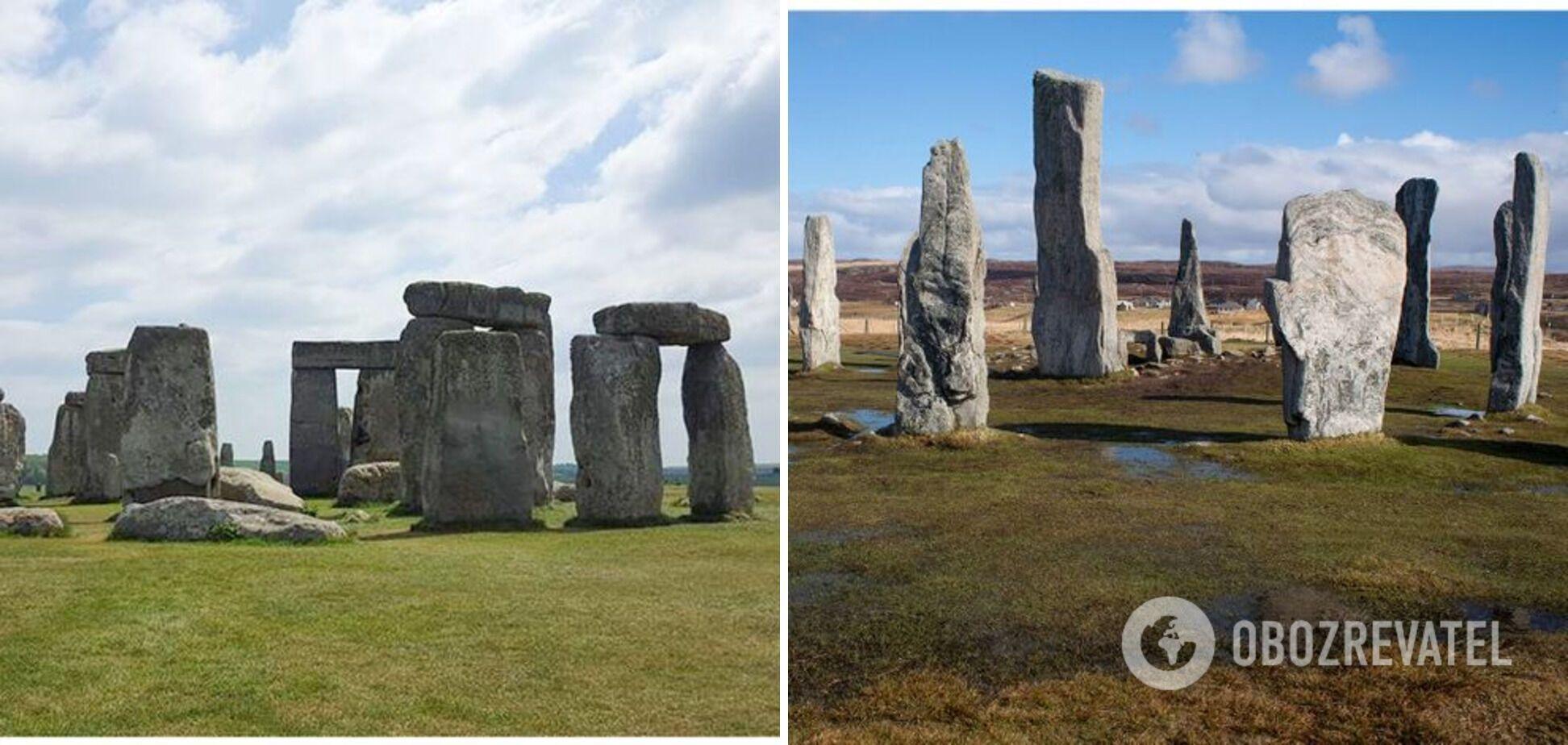 Слева – Стоунхендж в Великобритании, справа – Калланиш в Шотландии.