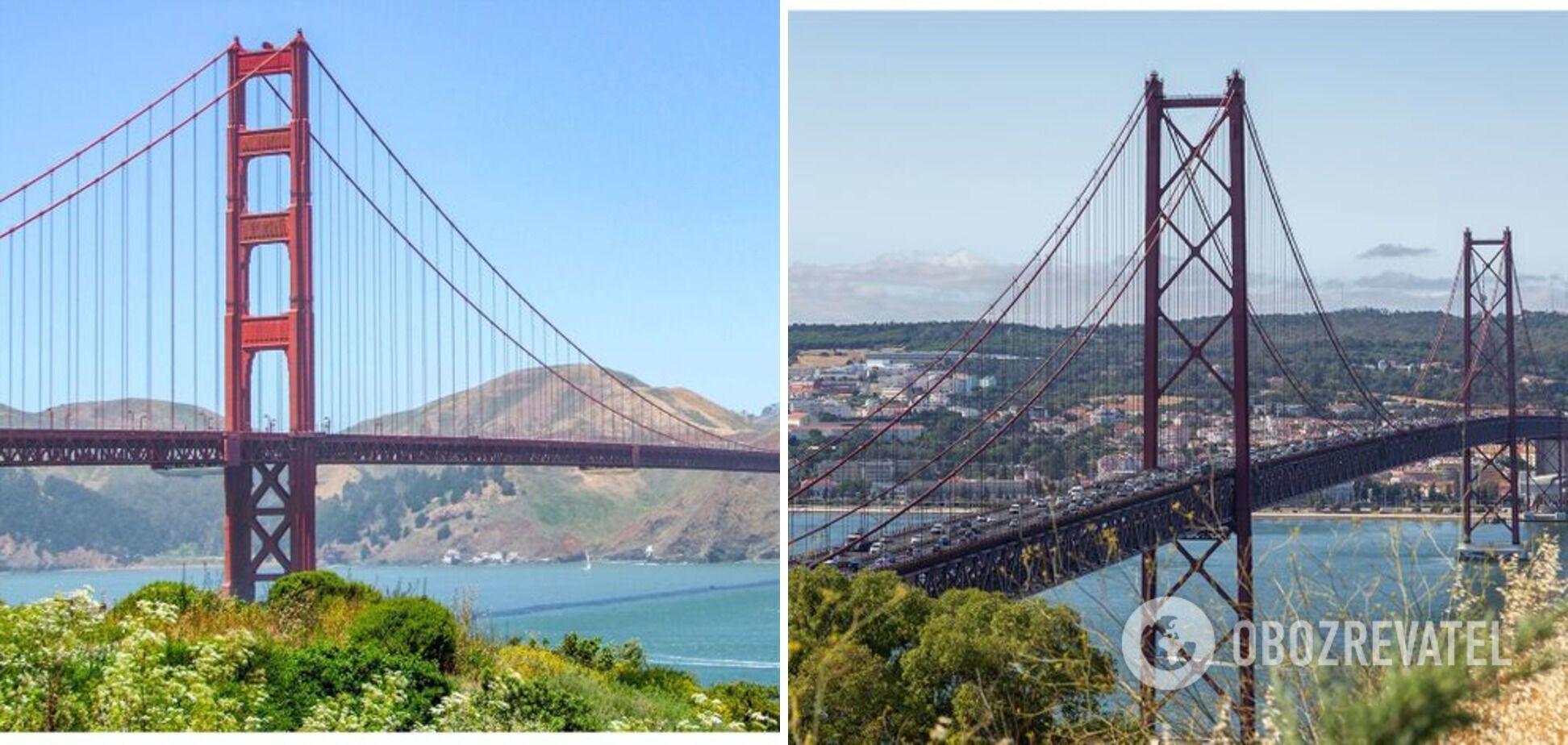"""Слева – мост """"Золотые ворота"""" в США, справа – мост """"25 апреля"""" в Португалии."""