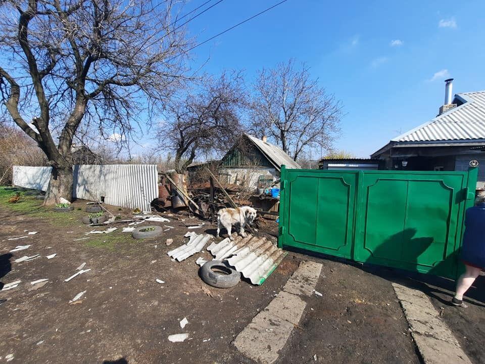 Місце вибуху снаряду російських окупантів на Донбасі