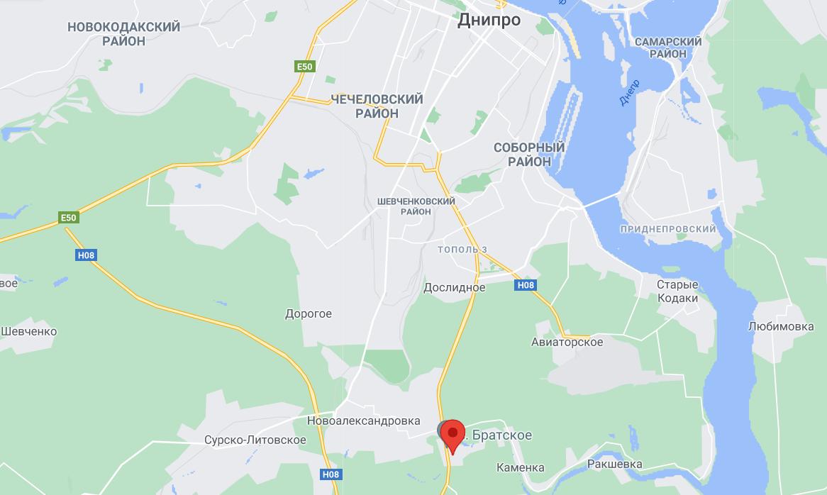 Село Братское на карте