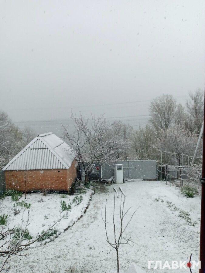 На Киевщине выпал снег.
