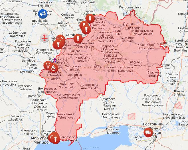 Карта войны на Донбассе.