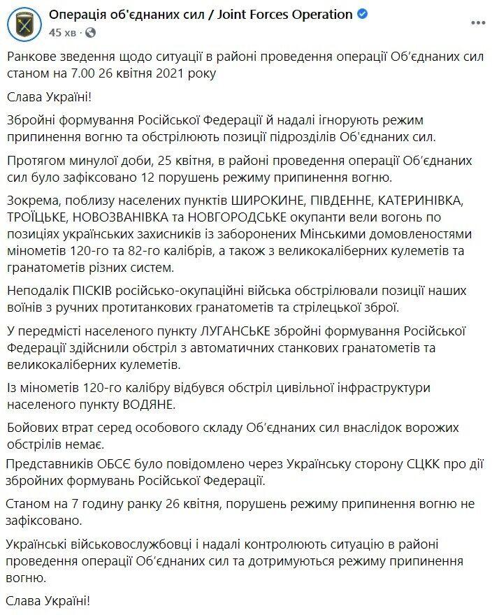 Зведення щодо ситуації на Донбасі за 25 квітня