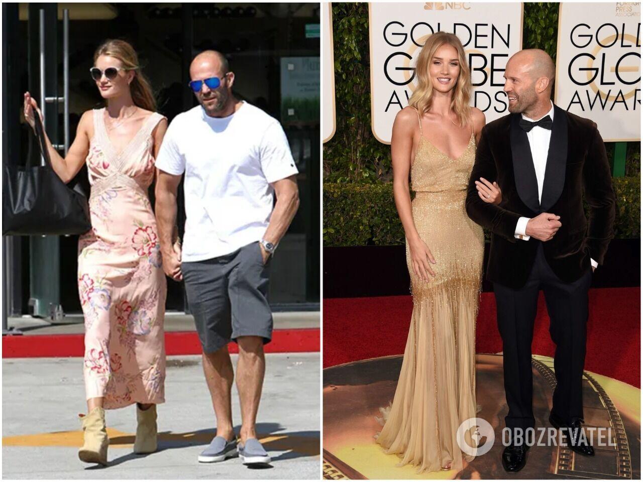 Джейсон Стэтэм ниже своей избранницы-модели, когда она надевает каблуки