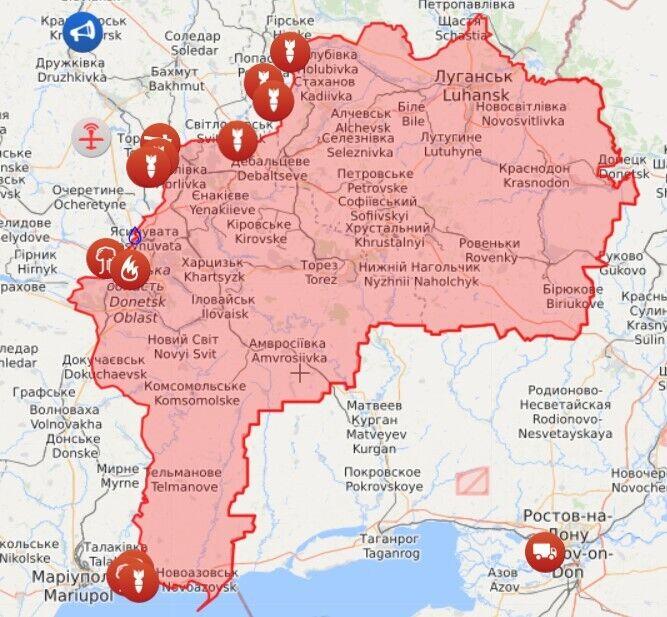 Карта із позначеннями гарячих точок на Донбасі