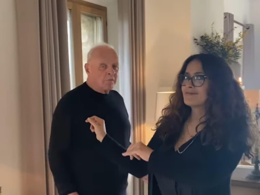 Энтони Хопкинс станцевал на видео с актрисой Сальмой Хайек
